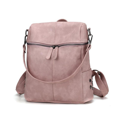 Pink Leather Multi-functional Square Shoulder Bag-women-pink-wanahavit