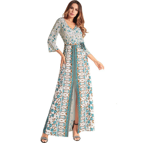 Mandala Print Long Chiffon Dress