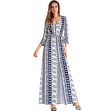 Mandala Print Long Chiffon Dress-women-wanahavit-Blue-XXL-wanahavit