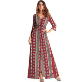 Mandala Print Long Chiffon Dress-women-wanahavit-Red-XXL-wanahavit