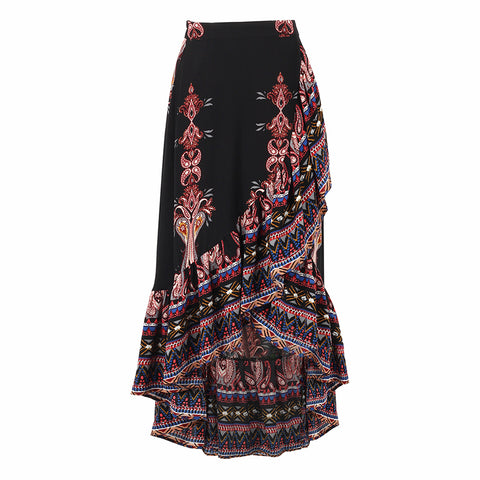 Mandala Printed Chiffon Long Asymmetrical Skirt-women-wanahavit-L-wanahavit
