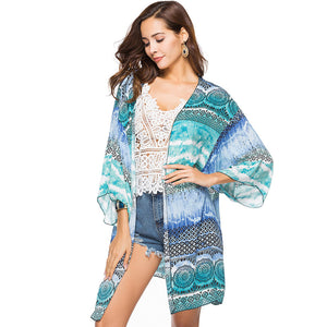 Boho Style Printed Long Kimono Chiffon Blouse-women-wanahavit-1-One Size-wanahavit