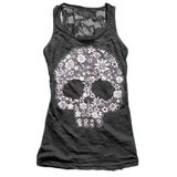 Punk Style Hollow Out Skull Sleeveless Shirt