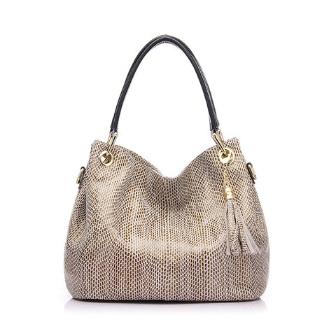 Genuine Leather Reptile Print Shoulder Bag-women-Beige-(30cm<Max Length<50cm)-wanahavit