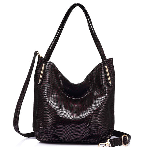 Genuine Leather Serpentine Shoulder Bag