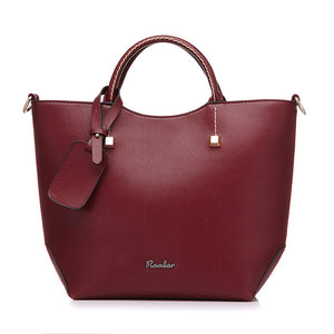Elegant PU Leather Large Bucket Shoulder Bag-women-wanahavit-new wine red-wanahavit