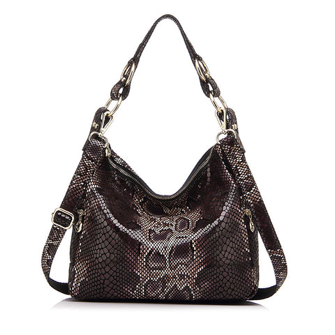 Genuine Leather Serpentine Print Shoulder Bag