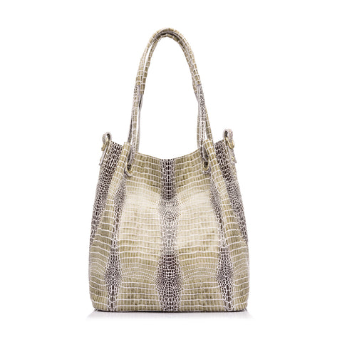 Genuine Leather Alligator Print Shoulder Bag