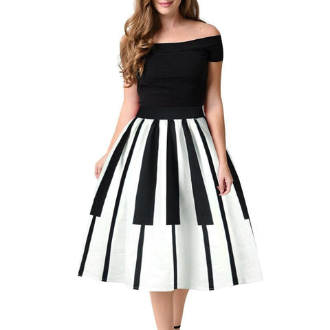 Vintage BNW Striped High Waist Midi Skirts-women-as picture-S-wanahavit