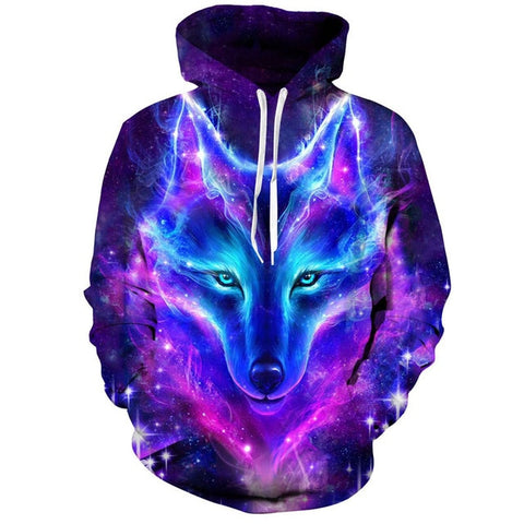 Fashion Galaxy Space 3D Wolf Hoodie Sweatshirts