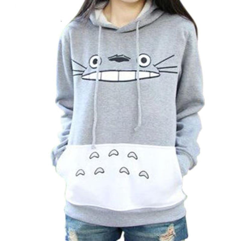 3D Harajuku Cartoon Totoro Thick Hooded Sweatshirt - women - wanahavit