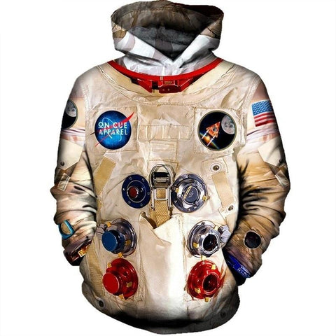 Cosmonaut Print Long Sleeve Hooded Pullovers-unisex-XXL-wanahavit