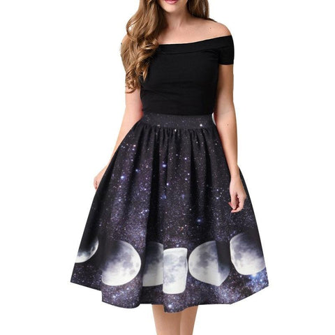 Moon Print High Waist Midi Knee Length Skirts-women-as picture-S-wanahavit