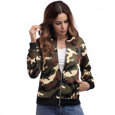 Camouflage Bomber Long Sleeve Jacket - women - wanahavit
