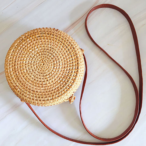 Bohemian Circle Wicker Rattan Shoulder Bag-women-wanahavit-Solid 18x8-wanahavit