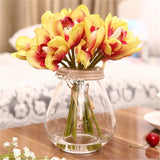 6 Heads Realistic Cymbidium Orchid-home accent-wanahavit-Yellow Red-wanahavit