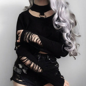 Gothic Hollow Out Slim Fit Crop Top Long Sleeve-women-wanahavit-Black-S-wanahavit