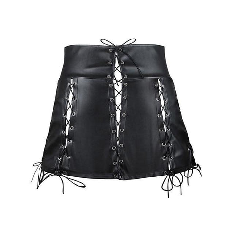 Sexy Gothic Bandage Mini PU Skirt-women-Black-L-wanahavit