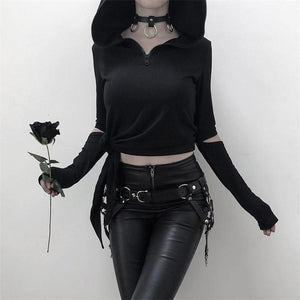 Sexy Gothic Punk Hollow Lace Up Hooded Long Sleeve-women-wanahavit-Black-M-wanahavit