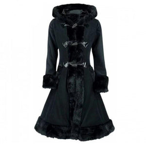 Black Flocking Winter Overcoat Hooded Vintage Gothic Trench Coat-women-wanahavit-Black-M-wanahavit