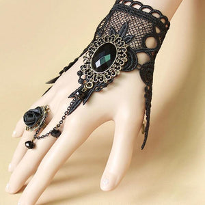 Gothic Retro Ring Charm Lace Leaf Crystal Ribbon Rose Finger Chain Victorian Bracelet-women fashion-wanahavit-wanahavit