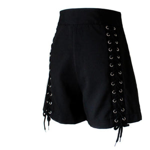 Gothic Sexy Club Lace Up High Waist Zipper Shorts-women-wanahavit-Black-S-wanahavit