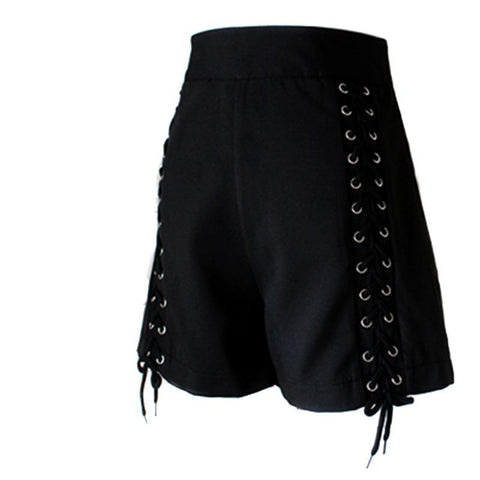 Gothic Sexy Club Lace Up High Waist Zipper Shorts-women-Black-S-wanahavit