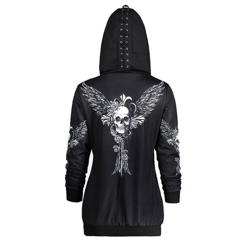 Gothic with Skull Print Hooded Sweatshirt-women-Black-S-wanahavit