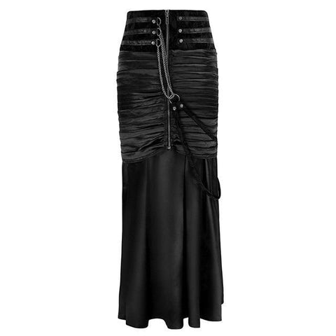 Gothic High Waist Pleated Lace Up Mermaid Skirt-women-Black-L-wanahavit