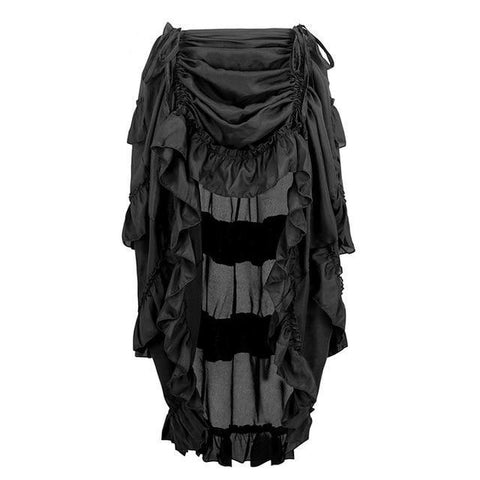Elastic Pleated Long Asymmetrical Skirt-women-Black-S-wanahavit
