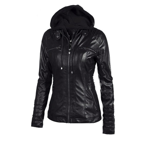 Gothic Motorcycle PU Faux Leather Jacket-women-black-XS-wanahavit