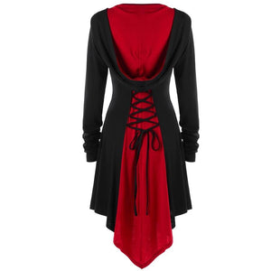 Vintage Long Sleeve Bandage Oversized Goth Hoodie Coat-women-wanahavit-Red-M-wanahavit