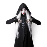 Gothic Sweatshirt Thick Fleece Hooded Sweatshirt-women-Black-S-wanahavit