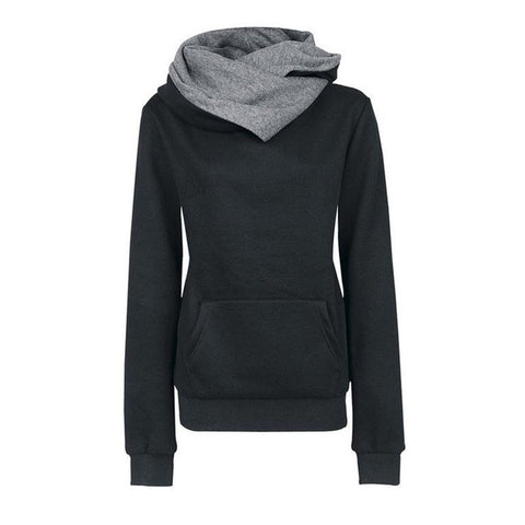 Casual Lapel Pullover Hooded Sweatshirt-women-wanahavit-Black-S-wanahavit