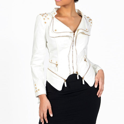 Gothic Slim Punk Style Lapel Zipper Rivet Jacket-women-wanahavit-White-S-wanahavit