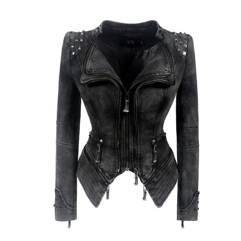 Gothic Slim Punk Style Lapel Zipper Rivet Jacket