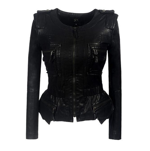 Ruffle Gothic Faux Leather PU Jacket