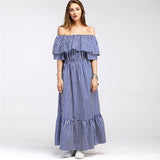 Ruffle Off Shoulder Plaid Long Dress-women-wanahavit-Navy Blue-L-wanahavit