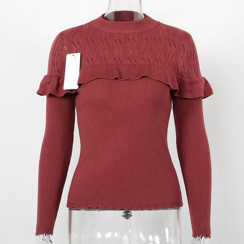 Ruffle Slim Knitted Hollow Out Long Sleeve-women-Red-One Size-wanahavit