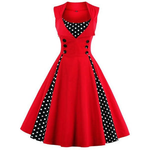 Retro Vintage Polka Dot Party Sleeveless Dress-women-wanahavit-Red-S-wanahavit
