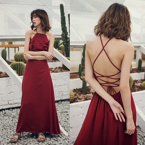 Sexy Backless Lace Up Ruffle Red Dress