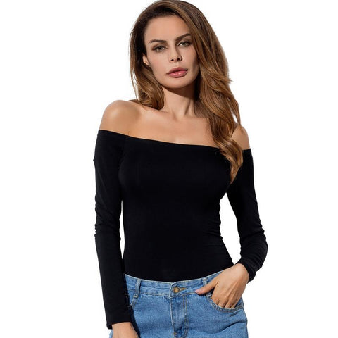 Sexy Off Shoulder Solid Color Long Sleeve Shirt