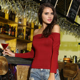 Sexy Off Shoulder Solid Color Long Sleeve Shirt-women-wanahavit-wine red-S-wanahavit