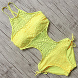 Sexy Handmade Solid Color Meshed Monokini-women fitness-wanahavit-Yellow-S-wanahavit