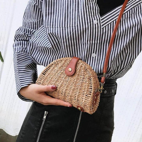 Shell Rattan Straw Clutch Shoulder Bag-women-wanahavit-wanahavit