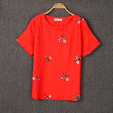 Embroidery Flowers Loose Short Sleeve Shirt
