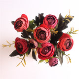 European Style Artificial Camelia Bouquet-home accent-wanahavit-red-wanahavit