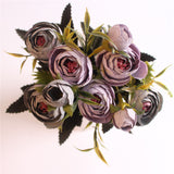 European Style Artificial Camelia Bouquet-home accent-wanahavit-purple-wanahavit