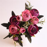 European Style Artificial Camelia Bouquet-home accent-wanahavit-rose purple-wanahavit
