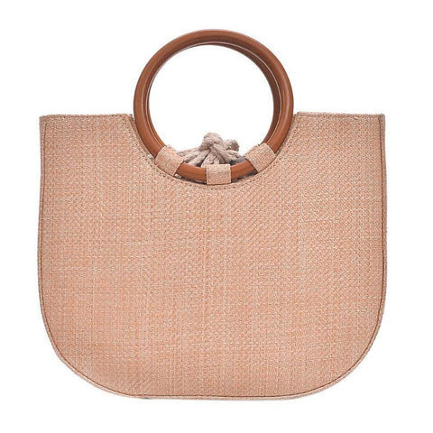 Elegant Round Handle Designer Straw Handbag-women-Khaki-wanahavit